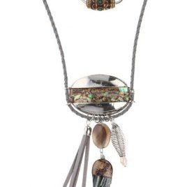 besonders kunstvoll gestaltete Halskette mit Perlmutteinsätzen im extravagantem Style aus wunderschönen Schmuckkomponenten. Der feine Glanz verleiht diesem Schmuckstück einen edlen Charakter