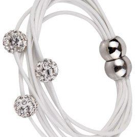 Besonders prachtvoll gestaltete Lederarmbänder in weiß mit Straßkugel zusammengesetzt aus zahlreichen verschiedenstenwunderschönen Schmuckkomponenten