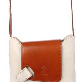 """Sehr edle Damenhandtasche aus hochwertigem """"echtem Leder"""" in creme/cognac. Die Handtasche ist innen mit einem Satin ähnlichem Stoff gearbeitet und hat seitlich und außen ein Fach mit einem Reisverschluß. Die Tasche hat die Maße H 20 cm x B 6 cm x L 23 cm. Eine tolle Tasche für jeden Anlaß!!!"""